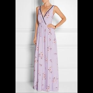 Nina Ricci Tulle Trimmed Lilac Floral Silk Gown
